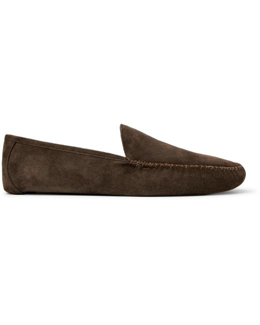 Loro Piana - Brown Maurice Cashmere-lined Suede Slippers for Men - Lyst