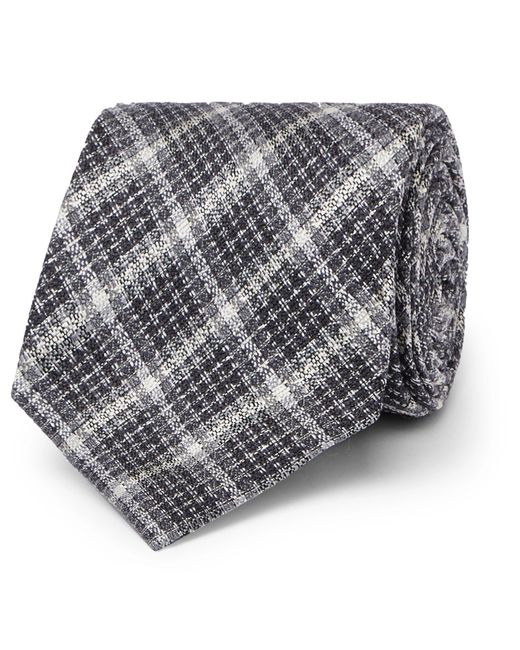 Tom Ford - Gray 8cm Checked Silk And Wool-blend Tie for Men - Lyst