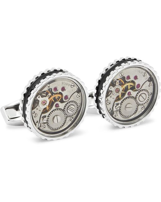 Tateossian - Metallic Gear Rhodium-plated And Enamel Cufflinks for Men - Lyst