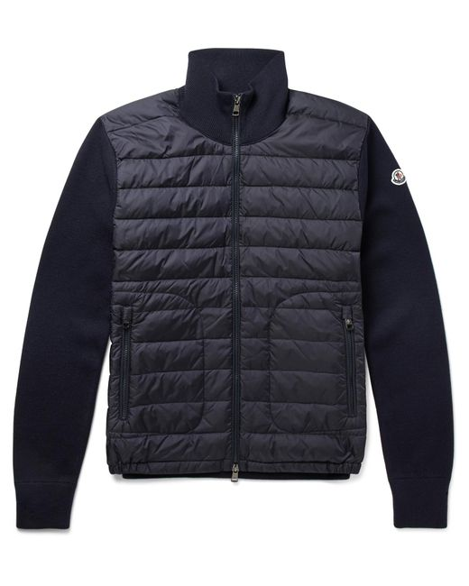 Moncler | Blue Slim-fit Panelled Wool-blend And Quilted Shell Down Jacket for Men | Lyst