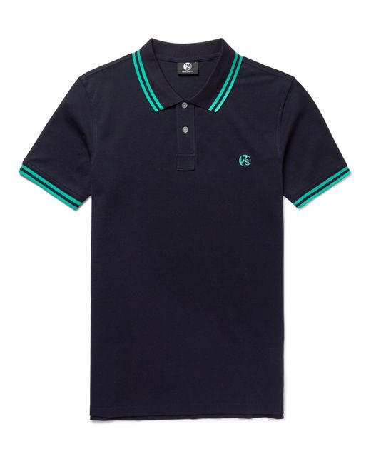 PS by Paul Smith | Blue Slim-fit Contrast-tipped Cotton-piqué Polo Shirt for Men | Lyst