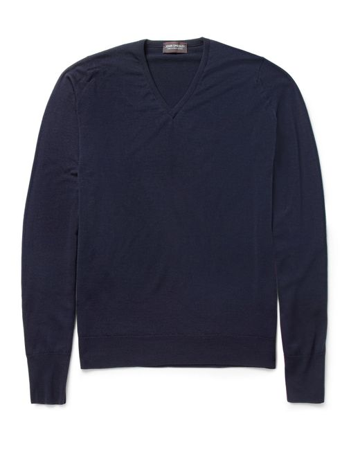John Smedley | Blue Bobby Merino Wool Sweater for Men | Lyst