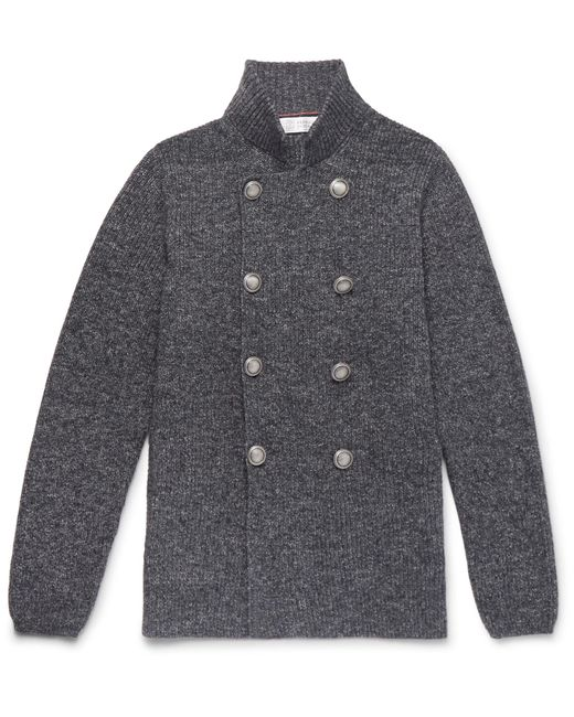 Brunello Cucinelli | Gray Slim-fit Double-breasted Mélange Cotton Cardigan for Men | Lyst