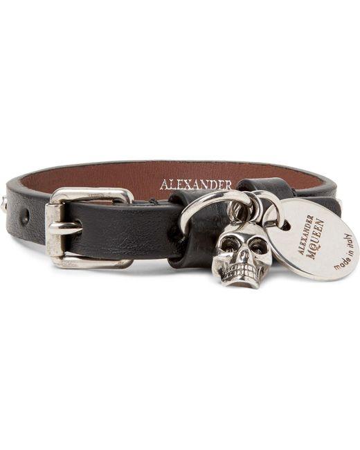 Alexander McQueen - - Studded Leather Bracelet - Black for Men - Lyst