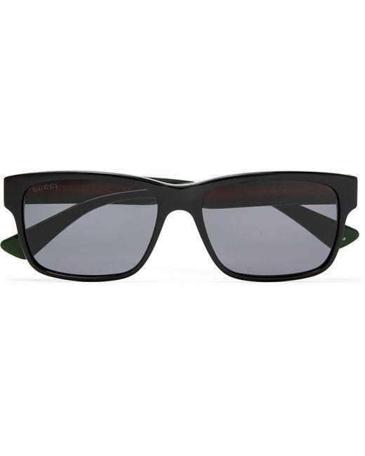 884de8b3874 Lyst - Gucci Square-frame Striped Acetate Sunglasses in Black for Men