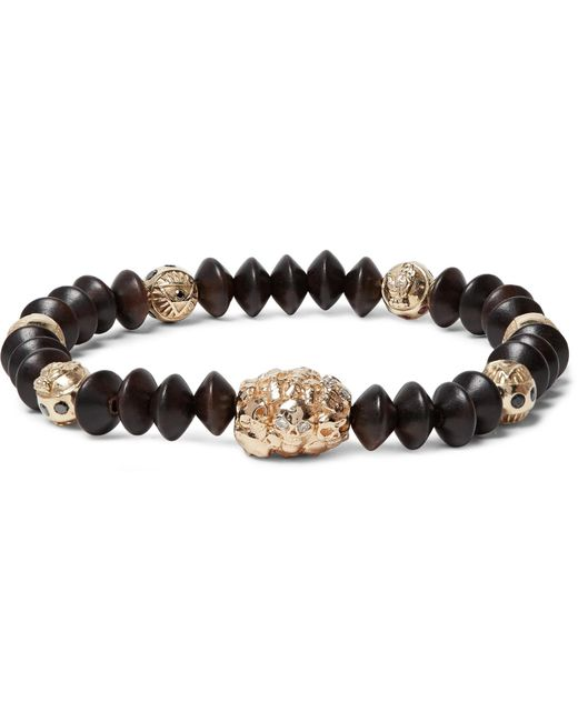 Luis Morais - Brown Wood And Gold Bead Bracelet for Men - Lyst