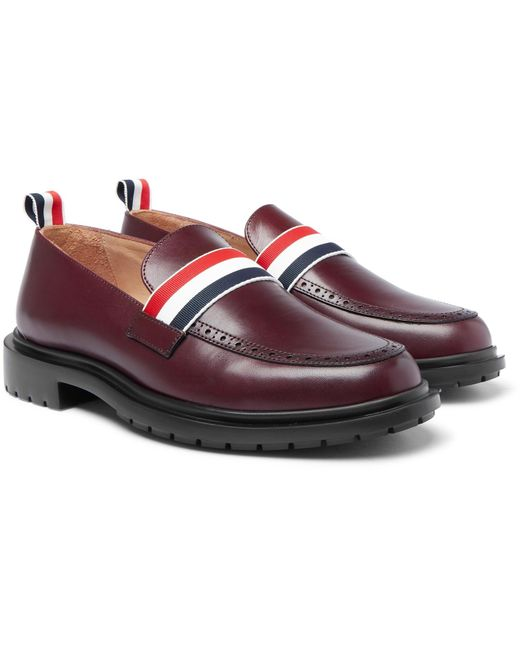 Thom Browne - Multicolor Grosgrain-trimmed Leather Penny Loafers for Men - Lyst