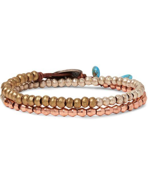 Peyote Bird - Metallic Brass, Copper And Silver Wrap Bracelet for Men - Lyst