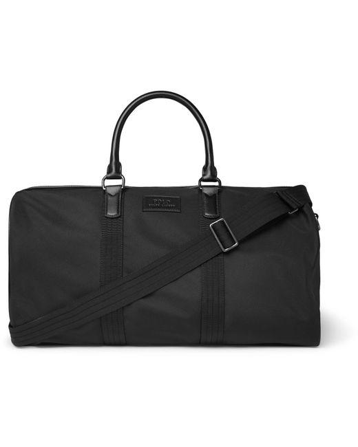 Polo Ralph Lauren - Black Leather-trimmed Nylon Holdall for Men - Lyst