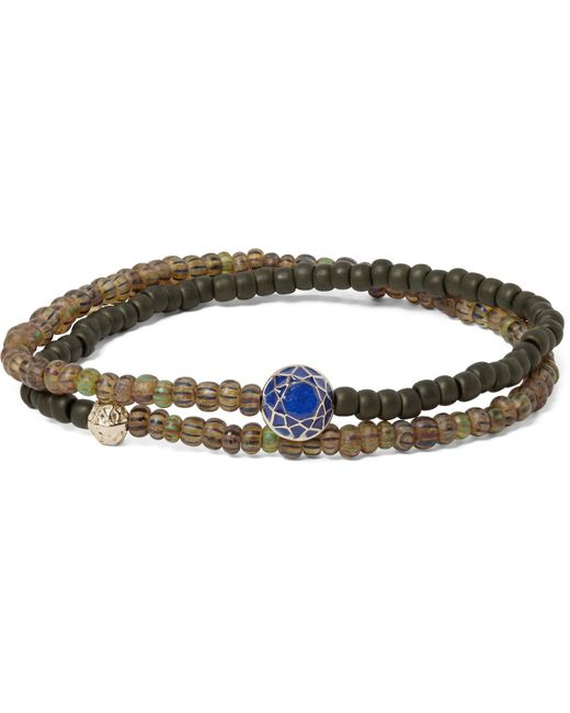 Luis Morais | Metallic Glass Bead, Sapphire And Gold Wrap Bracelet for Men | Lyst
