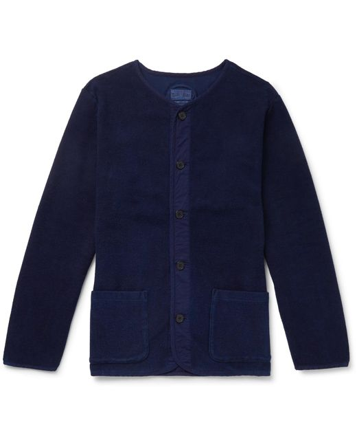 Blue Blue Japan - Blue Collarless Stretch-cotton Terry Jacket for Men - Lyst