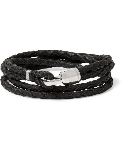 Miansai - Black Trice Woven Leather Sterling Silver Wrap Bracelet for Men - Lyst