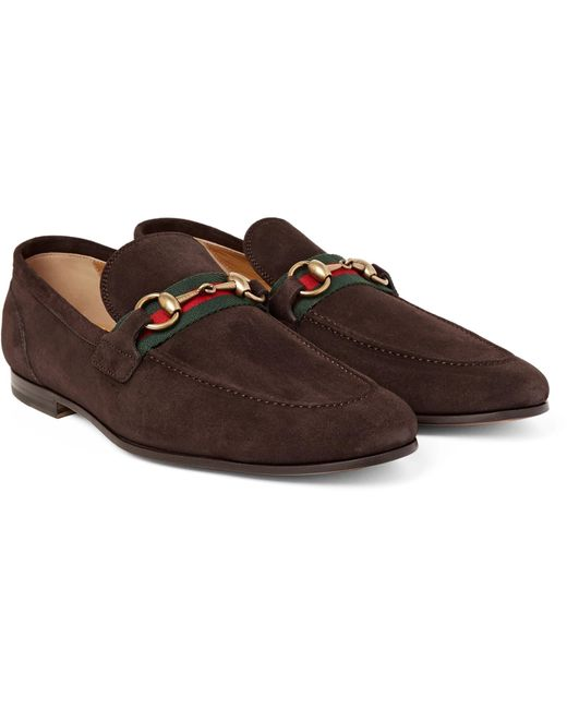 Gucci - Brown Horsebit Webbing-trimmed Suede Loafers for Men - Lyst