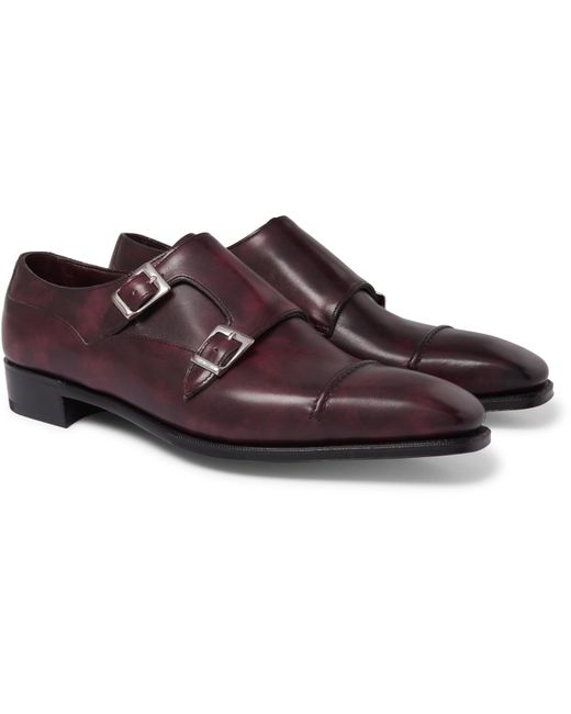 George Cleverley | Multicolor Caine Cap-toe Burnished-leather Monk-strap Shoes for Men | Lyst