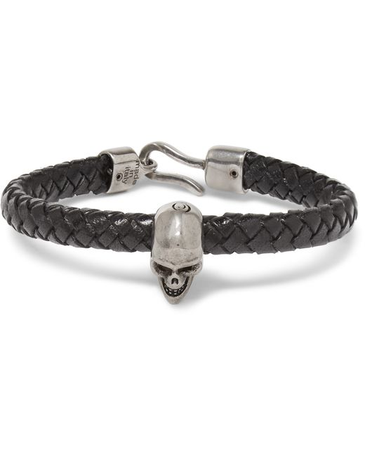 Alexander McQueen | Black Braided Leather And Burnished Silver-tone Skull Bracelet for Men | Lyst