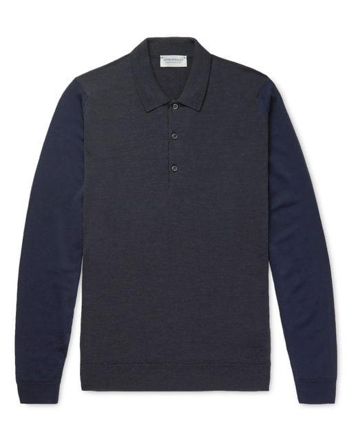 John Smedley   Gray Hindlow Two-tone Merino Wool Sweater for Men   Lyst