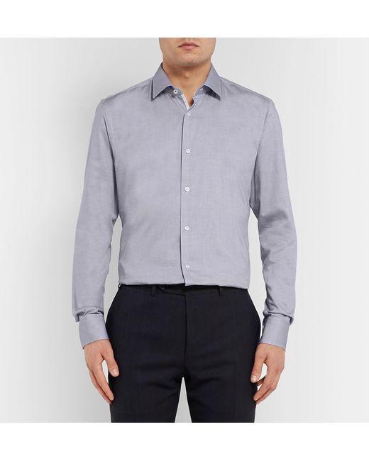 0013b721e BOSS Navy Jesse Slim-fit Polka-dot Cotton-poplin Shirt in Blue for ...