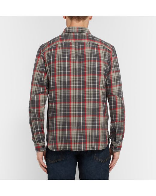 Rrl slim fit checked cotton flannel shirt in grey for men for Mens slim fit flannel shirt