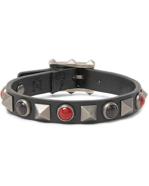 Valentino | - Leather, Silver-tone And Stone Bracelet - Black for Men | Lyst
