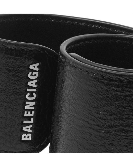 f5913fffa6057 ... Balenciaga - Black Logo-print Textured-leather Snap Bracelet for Men -  Lyst