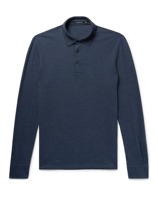 Ermenegildo Zegna - Blue Slim-fit Mélange Cotton-piqué Polo Shirt for Men - Lyst