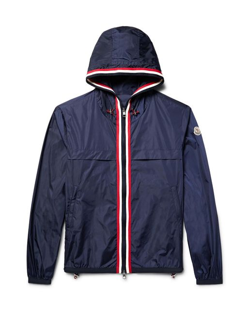 Moncler | Blue Anton Webbing-trimmed Nylon Hooded Jacket for Men | Lyst