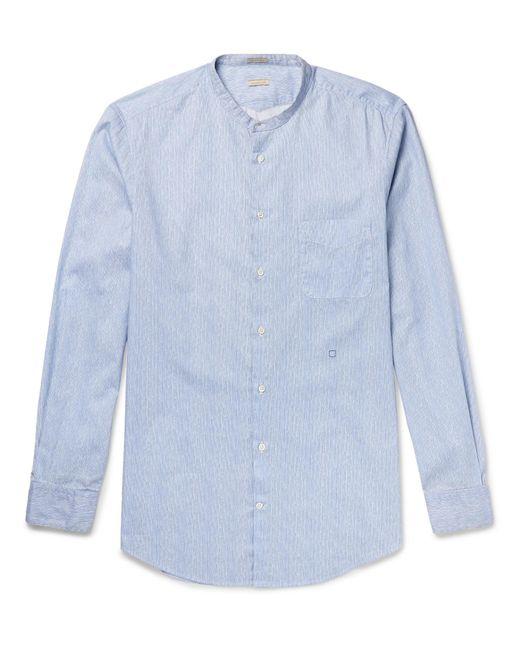 Massimo Alba - Blue Grandad-collar Watercolour-dyed Striped Cotton Shirt for Men - Lyst