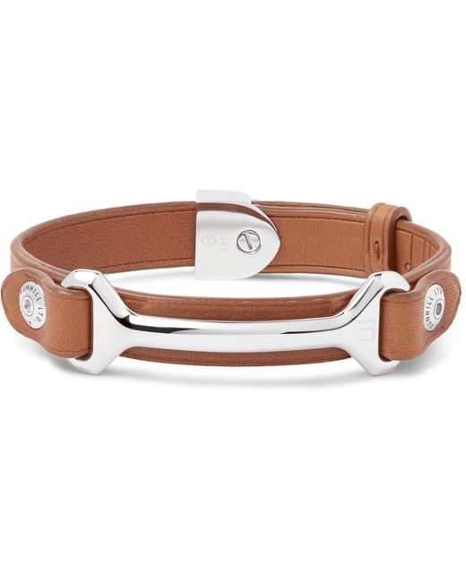 Dunhill | Brown Leather Silver-tone Bracelet for Men | Lyst