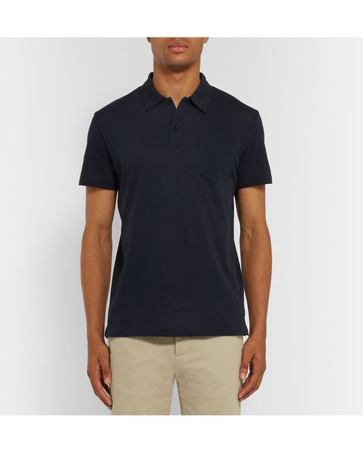 e185d71c0 ... Sunspel - Blue Riviera Cotton-mesh Polo Shirt for Men - Lyst ...