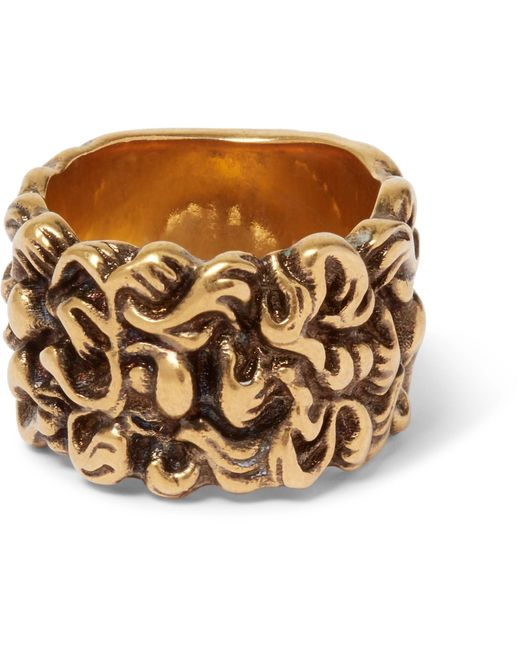 Gucci   Metallic Burnished Gold-tone Ring for Men   Lyst