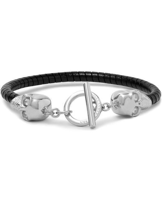 Alexander McQueen | Black Silver-tone Leather Skull Bracelet for Men | Lyst