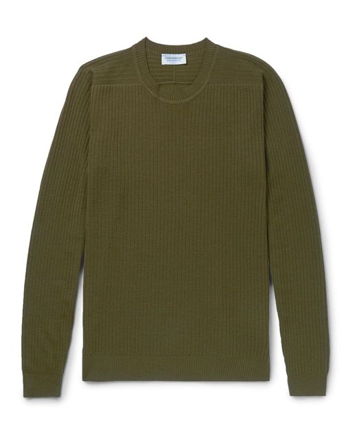 John Smedley | Green Ribbed Merino Wool Sweater for Men | Lyst