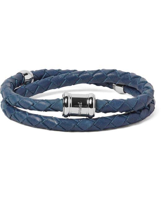 Miansai | Blue Double Casing Woven Leather Stainless Steel Bracelet for Men | Lyst