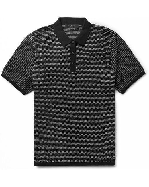 Rag & Bone - Black Finn Cotton And Nylon-blend Polo Shirt for Men - Lyst