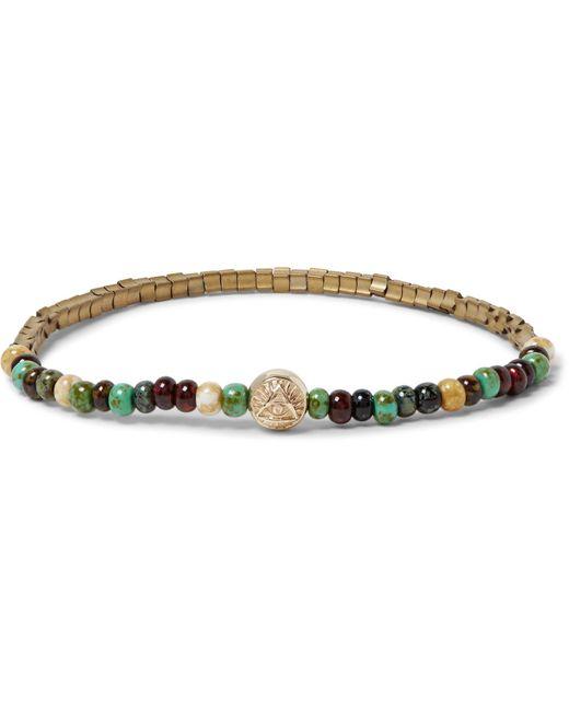 Luis Morais - Metallic Glass, Gold And Hematite Bead Bracelet for Men - Lyst