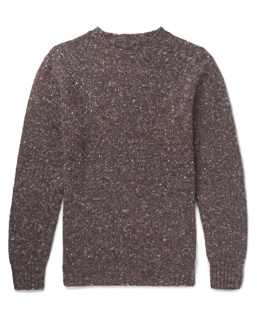 Anderson & Sheppard | Brown Donegal Wool And Cashmere-blend Sweater for Men | Lyst