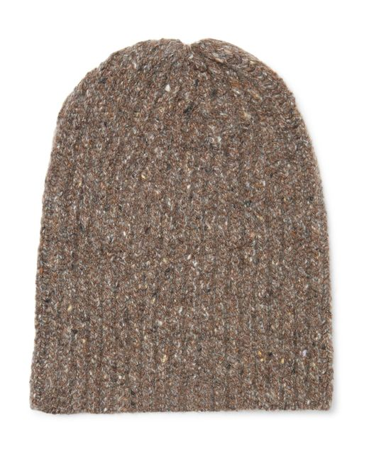 Inis Meáin | Brown Ribbed Mélange Merino Wool And Cashmere-blend Beanie for Men | Lyst