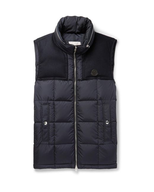 Moncler   Blue Cesar Wool-trimmed Quilted Shell Down Gilet for Men   Lyst