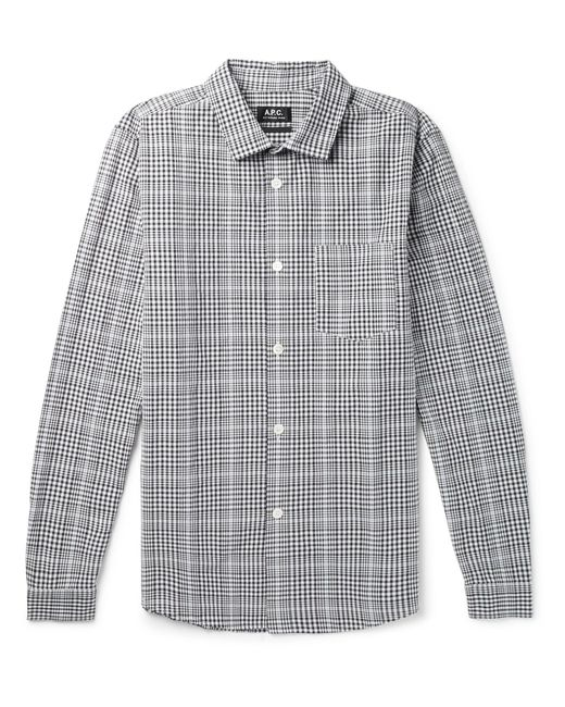 A.P.C. - Blue John Slim-fit Checked Cotton And Linen-blend Shirt for Men - Lyst