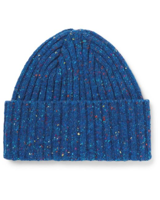 Drake's | Blue Ribbed Donegal Merino Wool Beanie for Men | Lyst