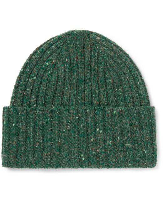 Drake's | Green Ribbed Donegal Merino Wool Beanie for Men | Lyst