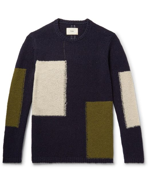 Folk | Blue Colour-block Wool-blend Sweater for Men | Lyst