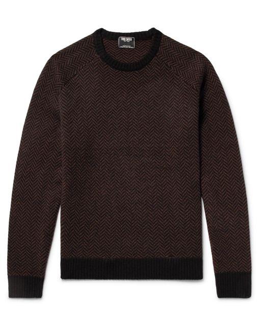 Todd Snyder   Brown Slim-fit Herringbone Intarsia Cashmere Sweater for Men   Lyst