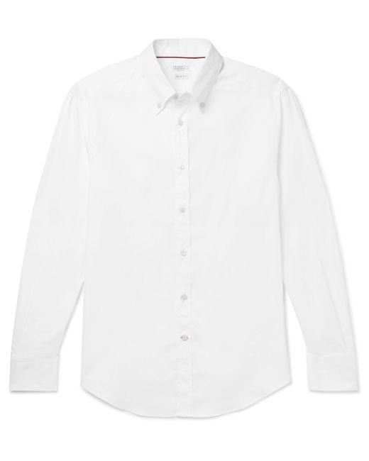 Brunello Cucinelli - White Slim-fit Button-down Collar Cotton-poplin Shirt for Men - Lyst