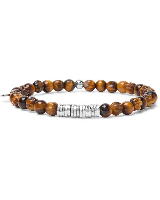 Tateossian - Brown Tiger's Eye And Sterling Silver Bracelet for Men - Lyst