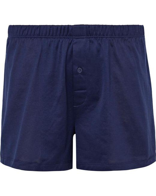 Hanro - Blue Sporty Mercerised Cotton Boxer Shorts for Men - Lyst