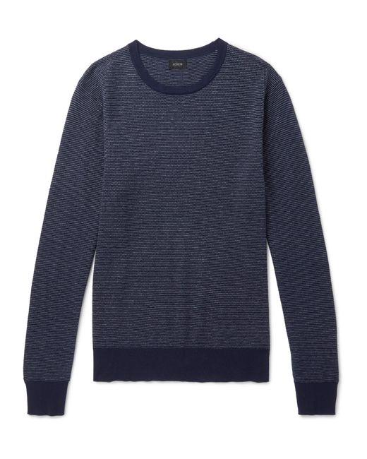 J.Crew - Blue Mélange Cotton-piqué And Cashmere-blend Sweater for Men - Lyst