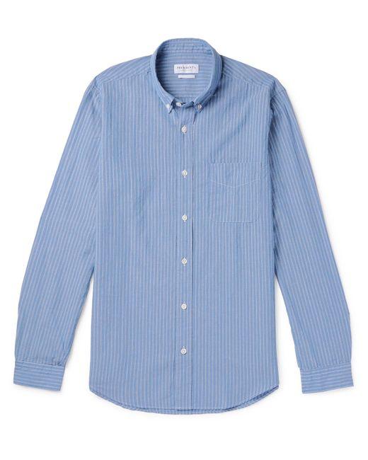 35aa848e1bb0 President's - Blue Button-down Collar Striped Cotton And Linen-blend Shirt  for Men ...