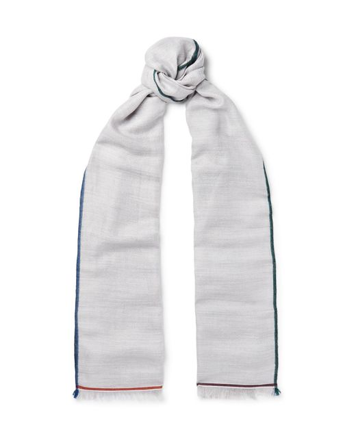 Loro Piana - Gray Fringed Contrast-trimmed Cashmere, Silk And Hemp-blend Scarf for Men - Lyst