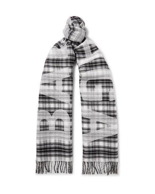 Balenciaga - Gray Logo-print Checked Wool Scarf for Men - Lyst